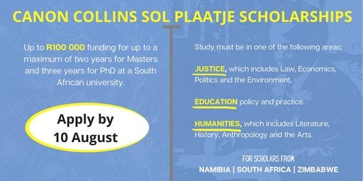 canon-collins-sol-plaatje-scholarships-2020-2021